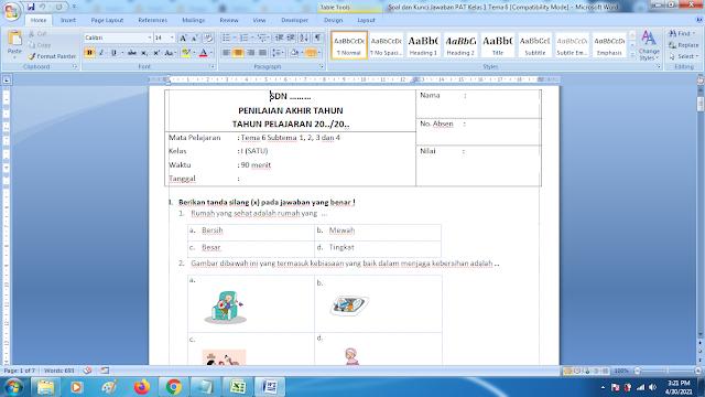 Soal Ukk Tema 6 Kelas 1 Dan Kunci Jawaban Kurikulum 2013