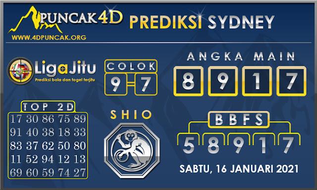 PREDIKSI TOGEL SYDNEY PUNCAK4D 16 JANUARI 2021