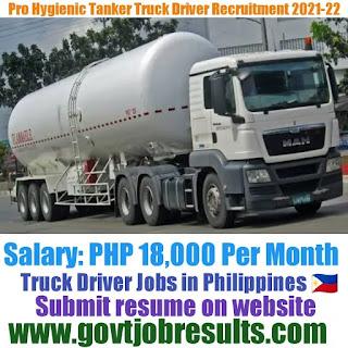 Pro hygienics Tanker Truck Driver Recruitment 2021-22