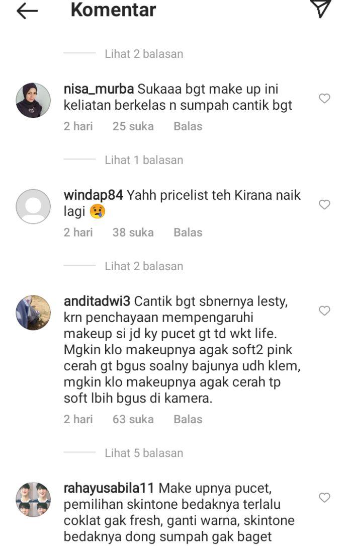 Komentar netizen soal makeup Lesti Kejora.* Instagram.com/@kiranafary