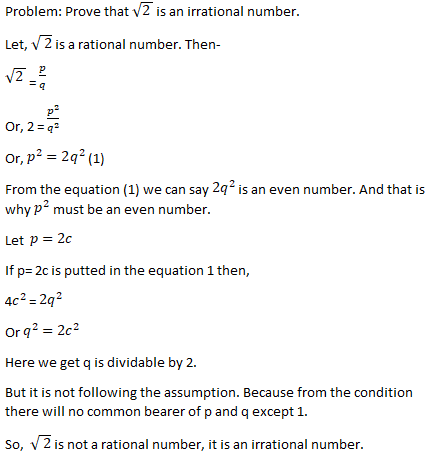 Root 2 is an irrational number