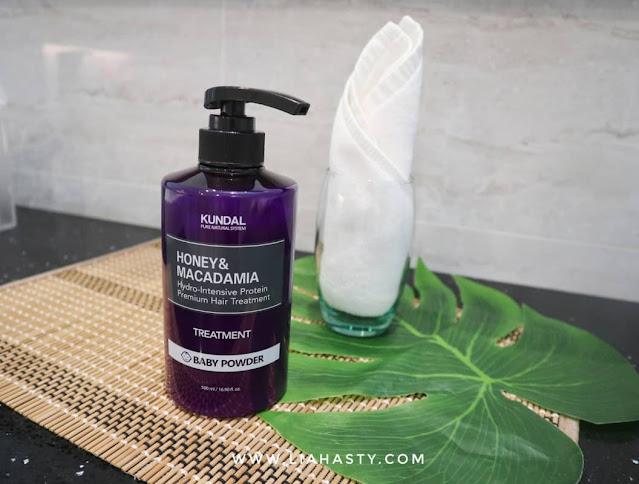Rawatan rambut dengan KUNDAL Macadamia Ultra Hair Treatment - Baby Powder