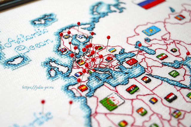 Вышивка крестом DMC K3413 - Map of the world / Карта мира