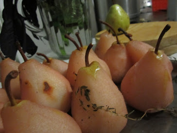 Poached pears, cooling