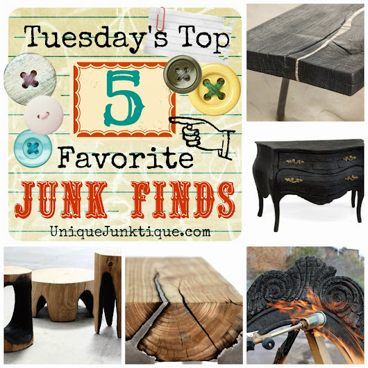 Tuesdays Top Five Favorite Junk Finds #24 Featuring Charred Furniture Art