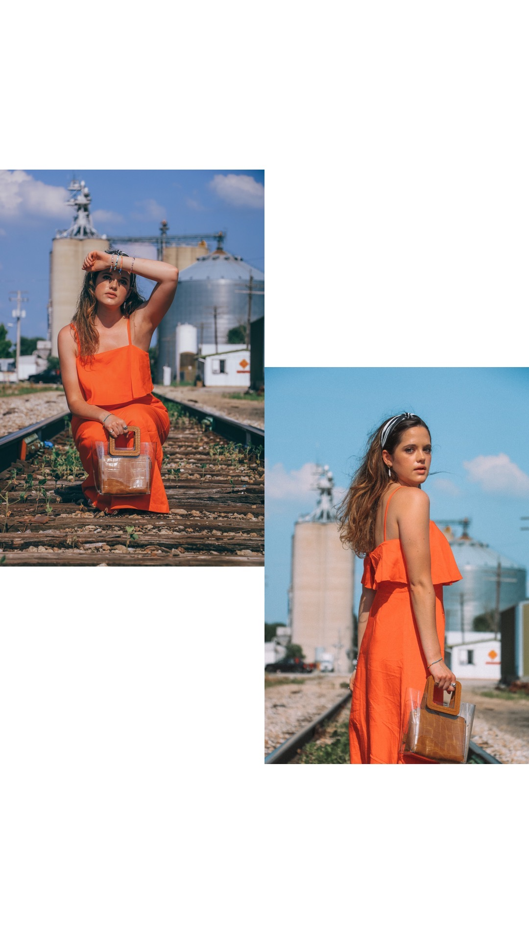 Style influencer Kathleen Harper wearing an orange maxi dress outfit.