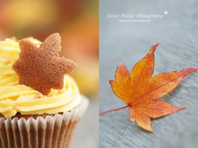 Herbstliche Cupcakes mit Tuile Blätterdeko Herbst Cupcakes Herbstblätter Kekse