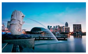 the Merlion Park (Mermaid and Lion) Singapore
