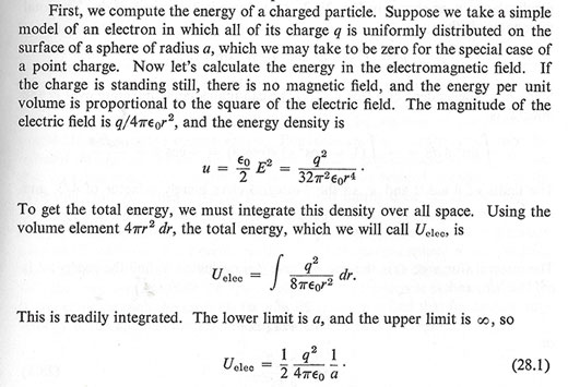 "Calculating the energy around a point charge (Source: Feynman, ""Lectures on Physics"")"