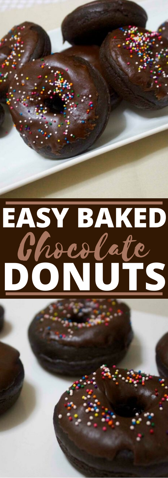 Baked Chocolate Donuts #chocolate #baking #desserts #breakfast #donut
