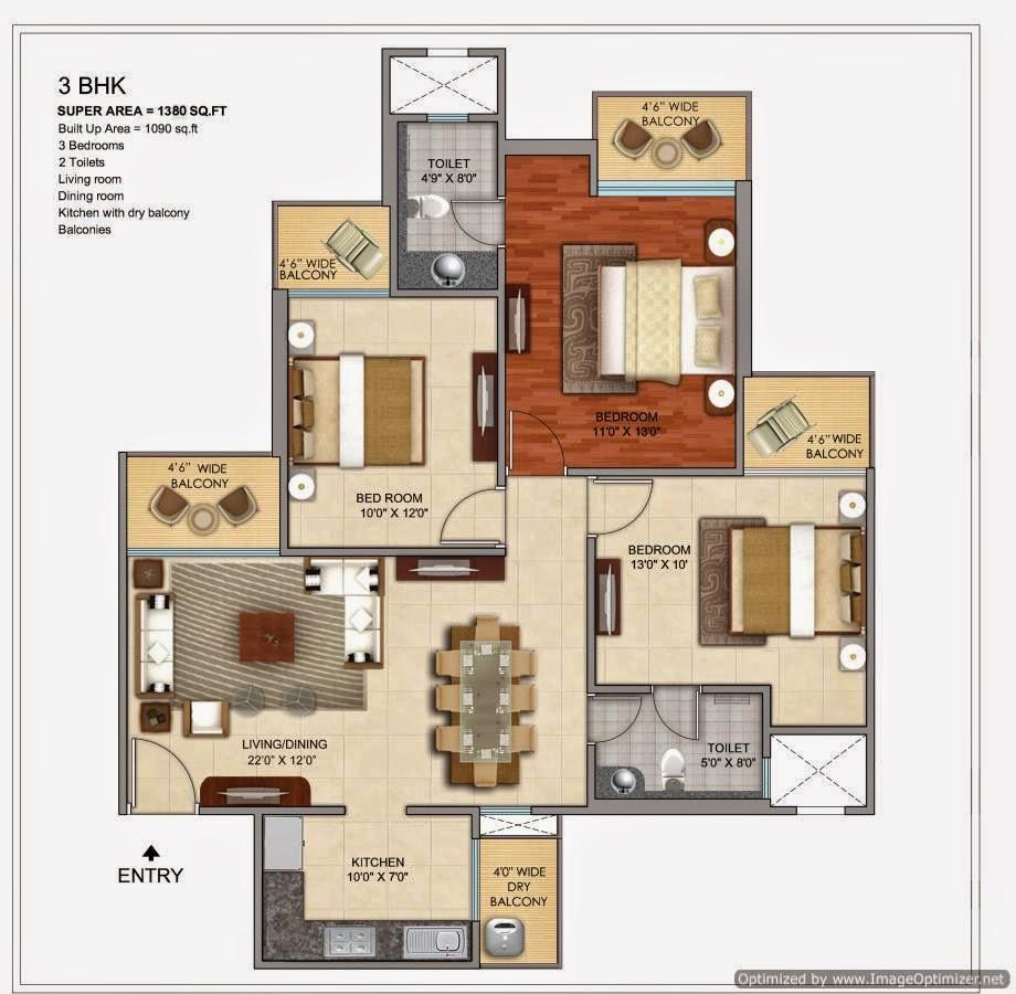 1380-sq.ft.-3-BHK-floor-plan-Prateek-Grand-City