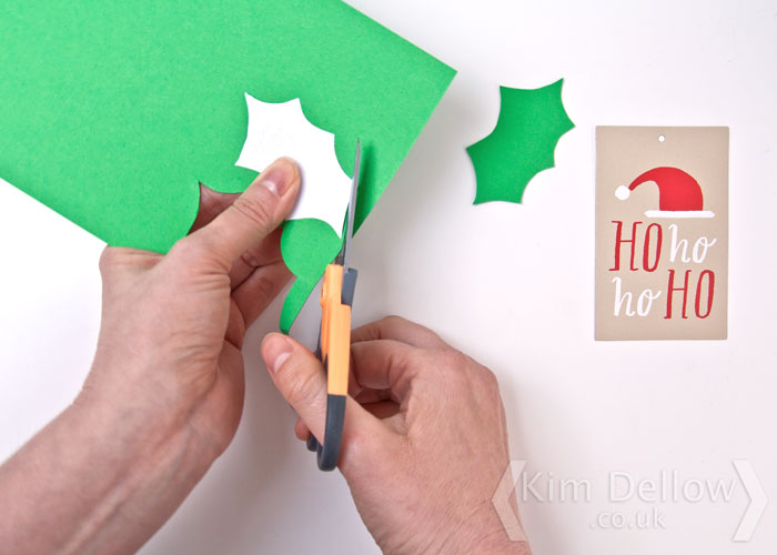 Making cardstock Holly leaves for a tag