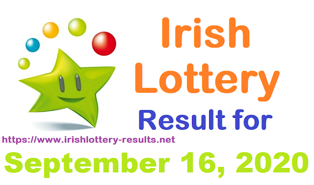 Irish Lottery Results for Wednesday, September 16, 2020