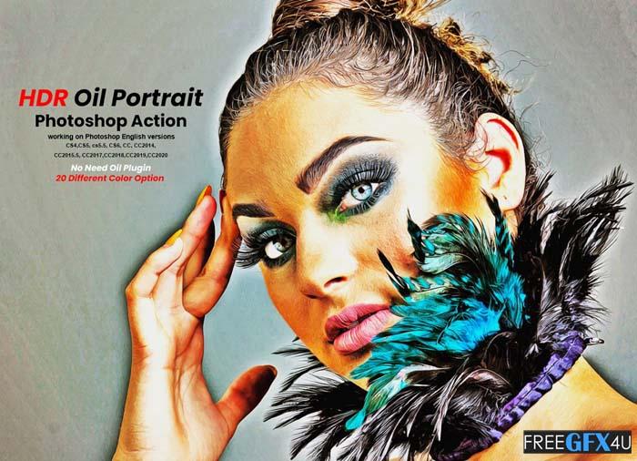 HDR Oil Portrait Photoshop Action
