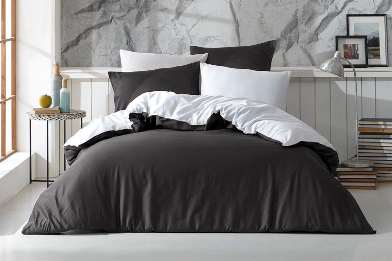 Lenjerie de pat Satin The Bed Set by Cadar Antracit  Alb-2 pers-220 x 200 cm