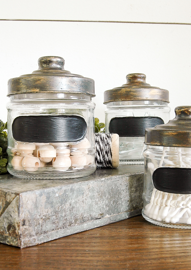 Aging Dollar Store jars with paint