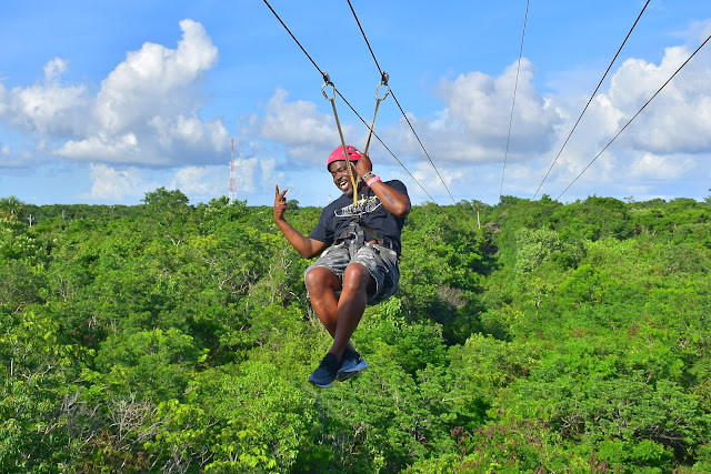 Ziplining in Cancun by the Pyramid at Grand Oasis
