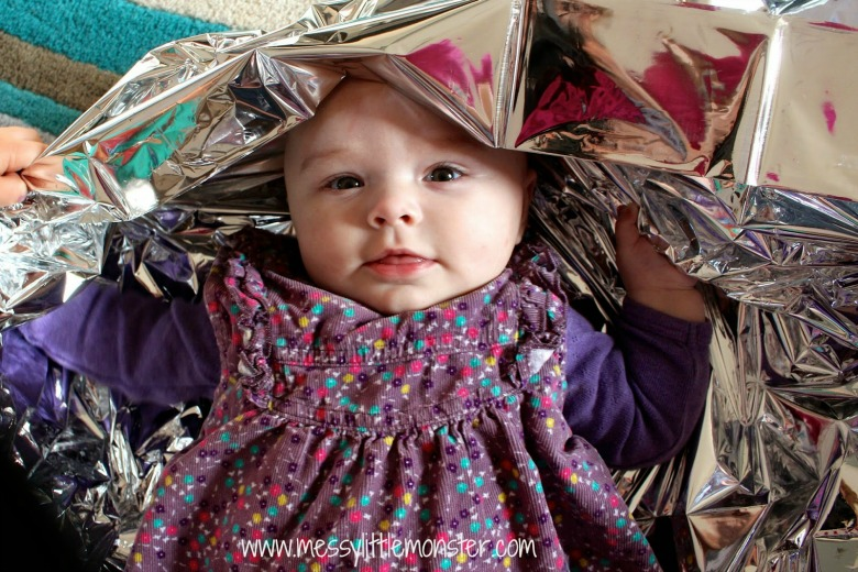 activities for babies - emergency foil blanket sensory play