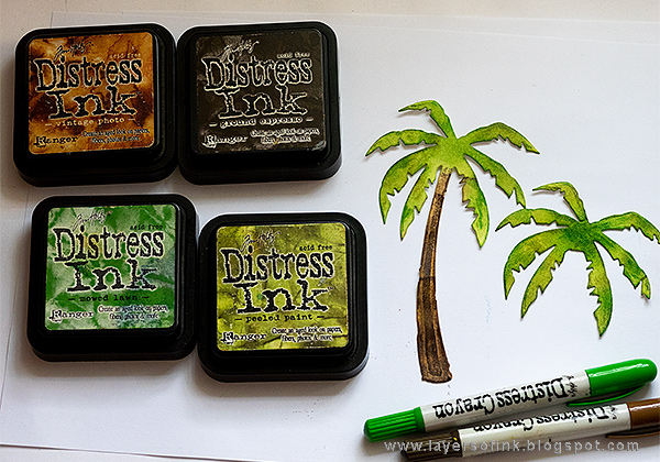 Layers of ink - Sparkly Tropical Beach Tutorial by Anna-Karin Evaldsson with Tim Holtz Tropical Sizzix die set