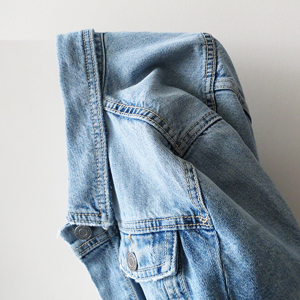 Banana Republic distressed denim jacket in a light blue wash