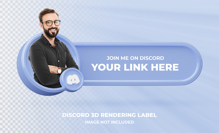 Banner Icon Profile Discord 3D Rendering Label Isolated