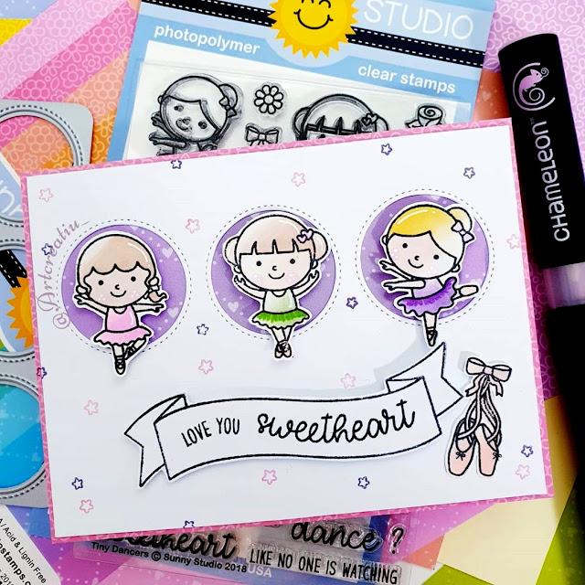 Sunny Studio Stamps: Tiny Dancers, Banner Basics & Window Trio Circle Dies Ballerina Ballet Themed card by ArtCreatiu