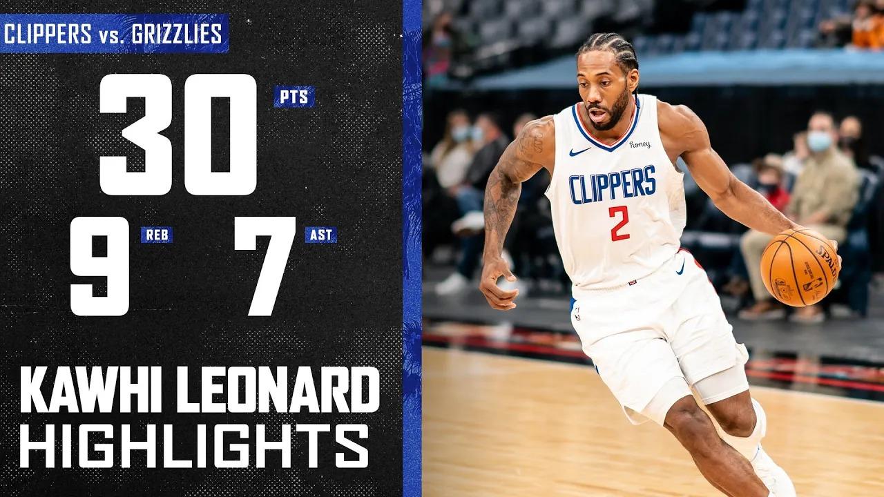 Kawhi Leonard 30pts 9reb 7ast vs MEN | February 26, 2021 | 2020-21 NBA Season