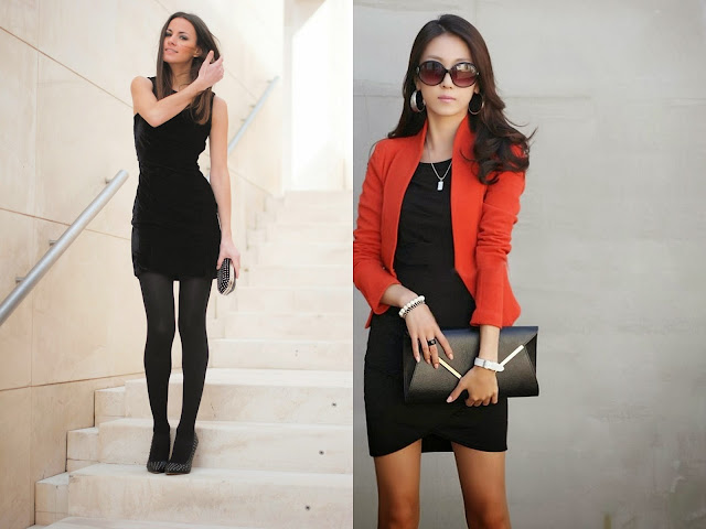 siyah elbise kombinleri