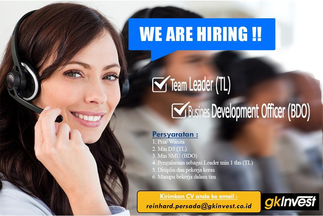 Lowongan Kerja Team Leader & Busine Development Officer Gk Invest Bandung Januari 2021