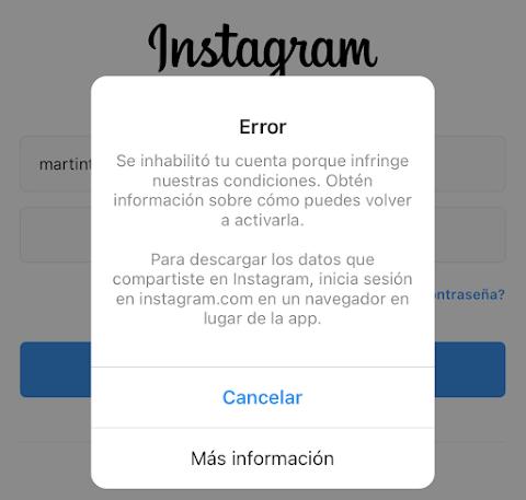 Instagram inhabilitado mi cuenta ¿Qué hago? - Información actualizada a 2020