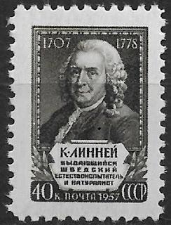 Russia USSR 1957 Carl Linnaeus,Swedish Botanist