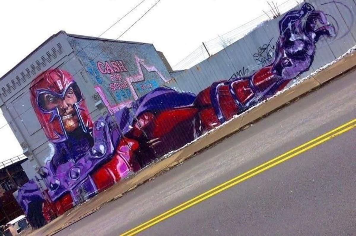 Magneto mural in Pittsburgh :「X-Men」のミュータント差別反対の解放運動の過激な指導者のマグニートーを描いた巨大な壁画のグラフィティ ! !