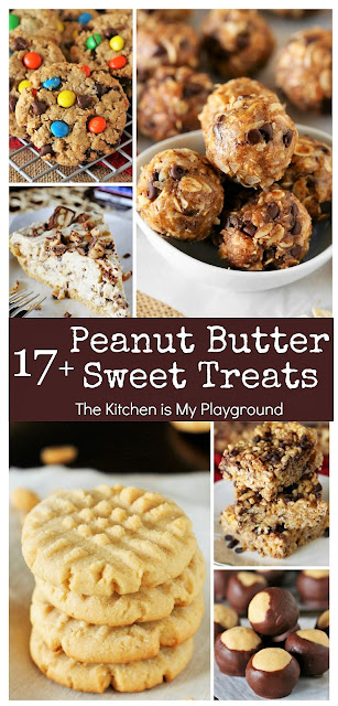 17+ Peanut Butter Sweet Treat Recipes ~ From cookies, to ice cream, to Krispie treats & pie, there're just so many ways to put peanut butter in our favorite sweet treats. Browse through 17+ peanut butter sweet treats for tasty ways to enjoy everyone's favorite peanuty spread in yummy sweet treat form. There's sure to be two or three (or 17) you'll love! #peanutbutter #peanutbuttertreats #peanutbutterlove  www.thekitchenismyplayground.com