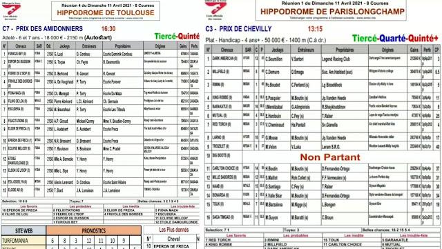 programe pronostic quinté dimanche 11/04/2021