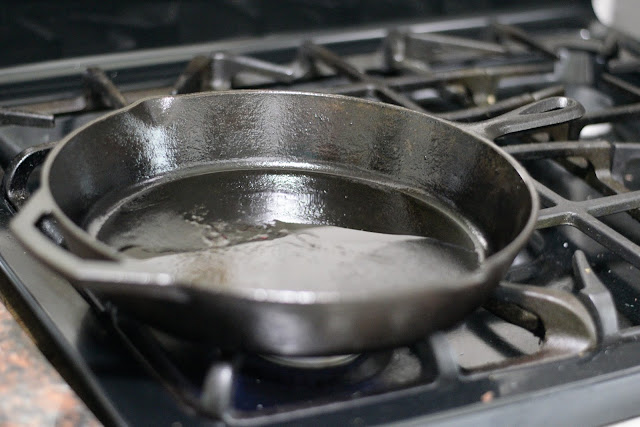 A cast iron skillet on the stove.