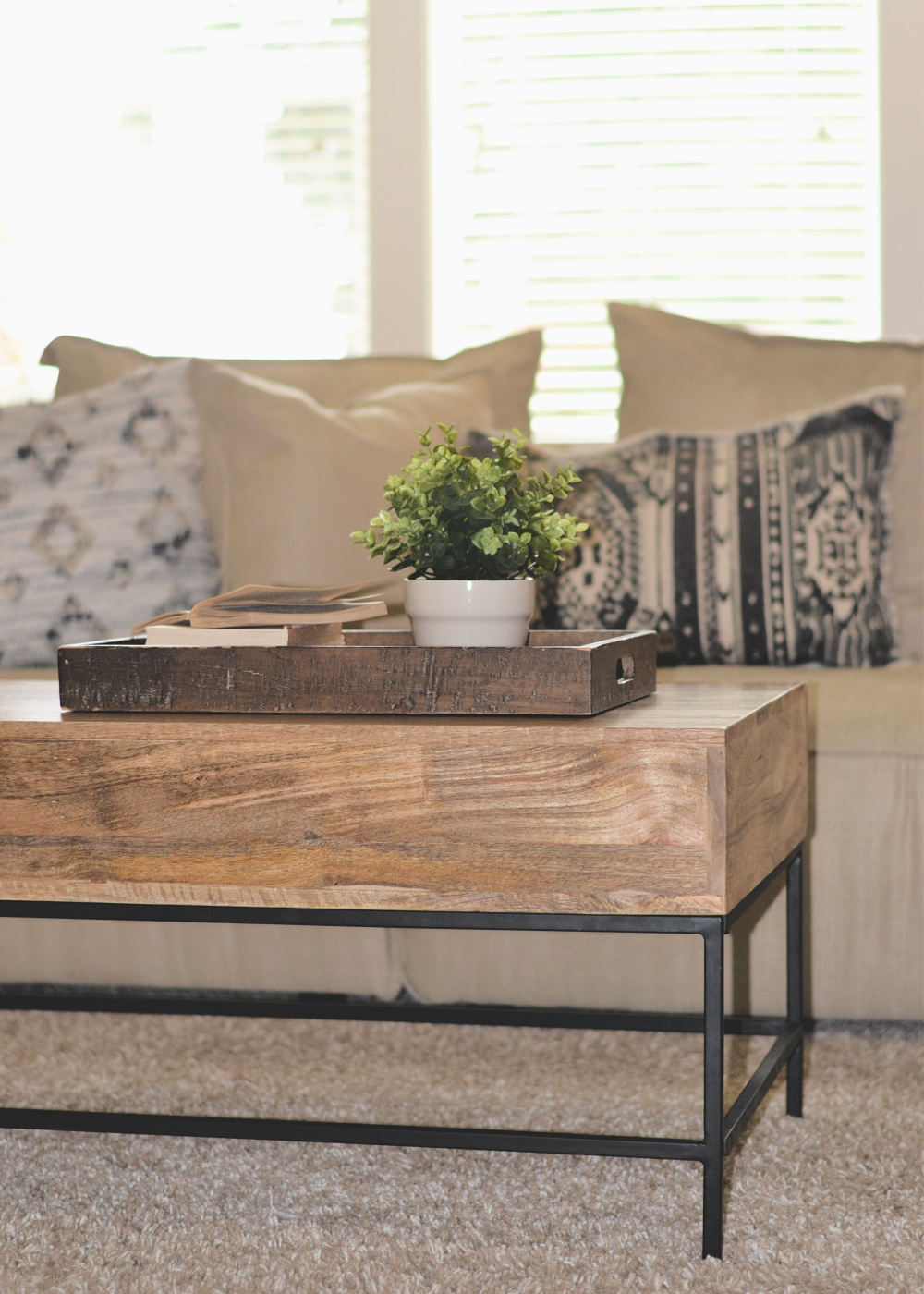 mixed metal and wood for a neutral living room design