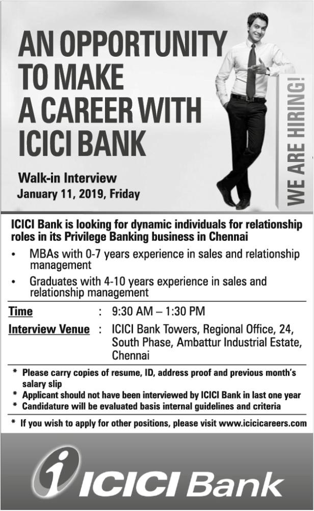 ICICI Bank Chennai, Walk In Interview for Sales and Relationship Management