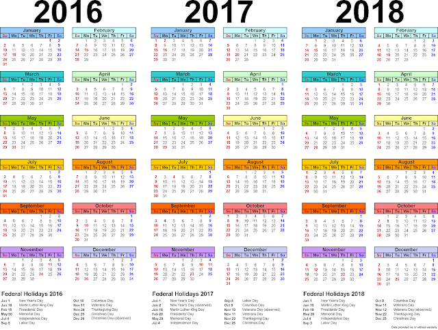 ... calendars for 2016/2017/2018 Monthly, Three year Printable calendars