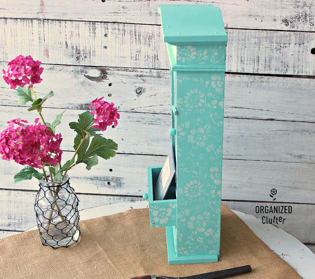 Goodwill Wooden Jewelry Box Upcycle #upcycle #dixiebellepaint #aqua #stencil #stencilroll #jewelryarmoire