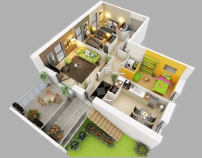 Contoh Gambar 3D Desain Rumah Minimalis Modern Terbaru 2