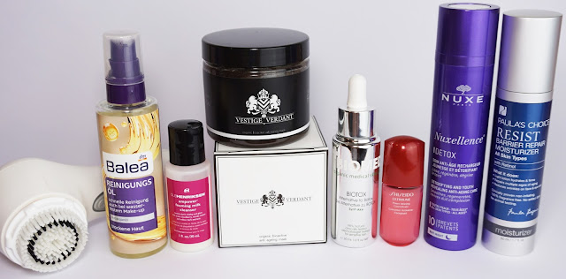 7 Tage - 7 verschiedene Hautpflege-Routinen am Abend Balea, Vestige Verdant, Shiseido, Biomed
