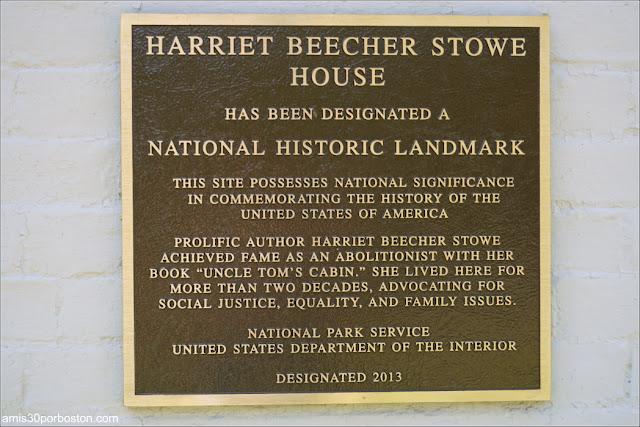 Placa Casa Museo de Harriet Beecher Stowe en Hartford, Connecticut
