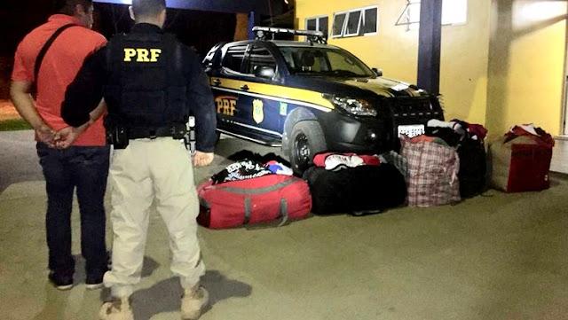 PRF prende peruano com mais de mil camisas contrabandeadas