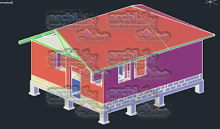 download-autocad-cad-dwg-file-3d-cabin-stem-pole-house