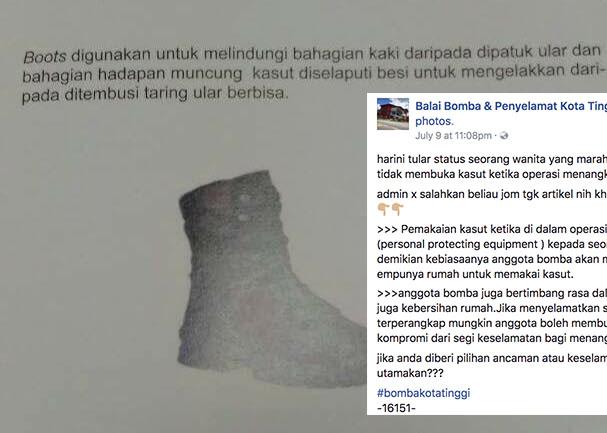 Lepas dimarahi wanita di FB, bomba jelaskan sebab kenapa perlu pakai kasut ketika tangkap ular dalam rumah