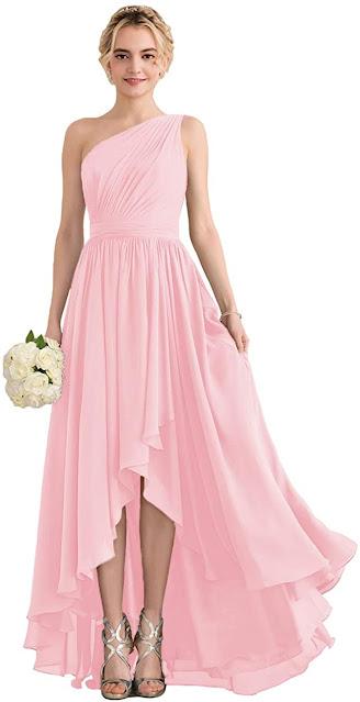 Sale Discount Pink Chiffon Bridesmaid Dresses