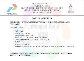 Lowongan Kerja Banda Aceh PT Nyou Kana Gah Lamnyong