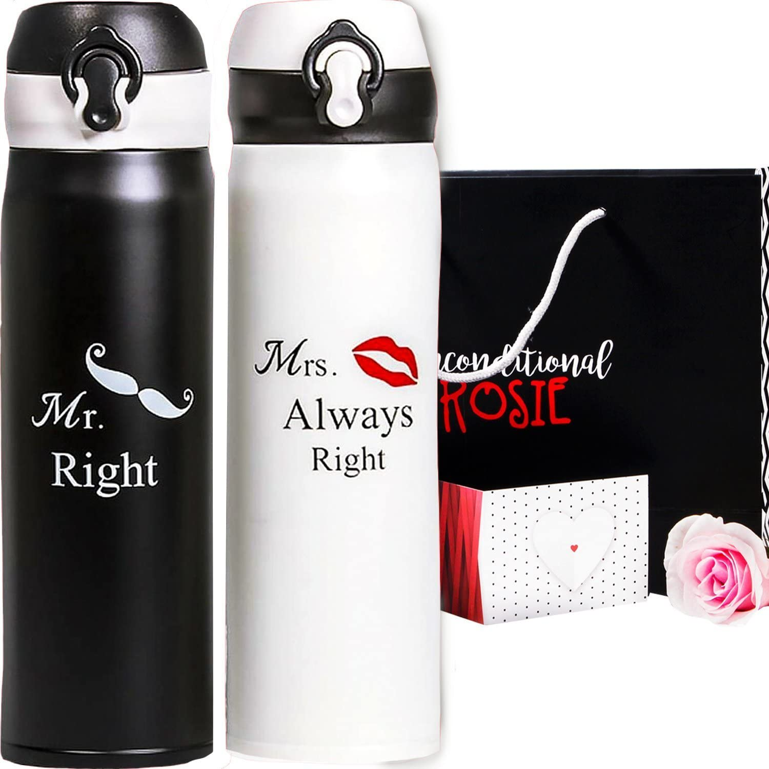 Matching Stainless Steel Flasks