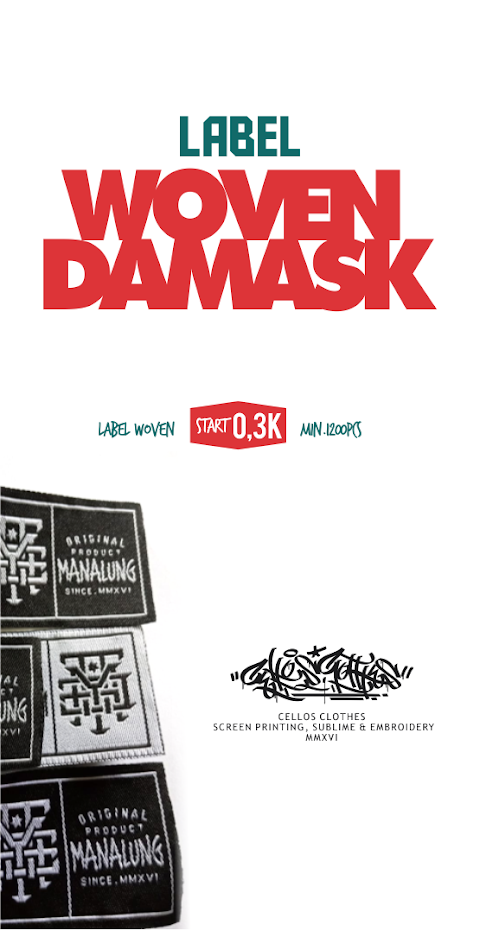 Bikin Label Woven Damask - Label Baju Kaos - Label Tas
