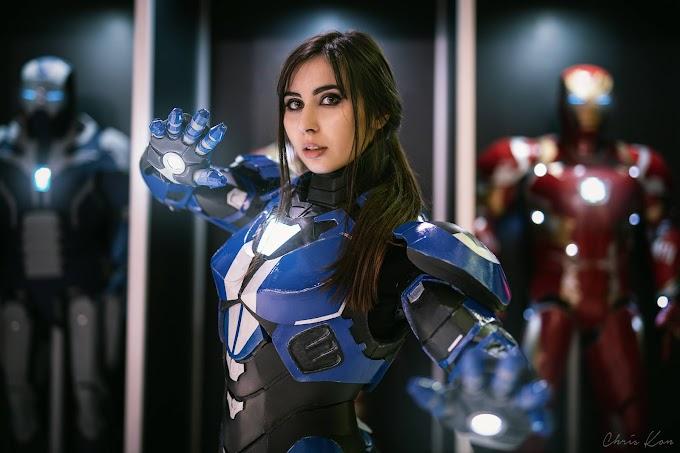 "AngieV con su armadura Iron girl Mark Srt-1 ""Barracuda"""